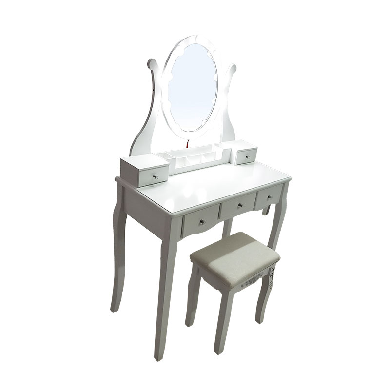 5 Drawers Lighted Mirror Dressing table