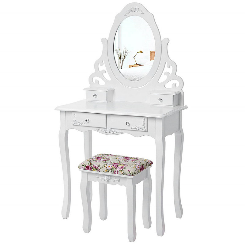 4 Drawers Oval Mirror Dressing Table