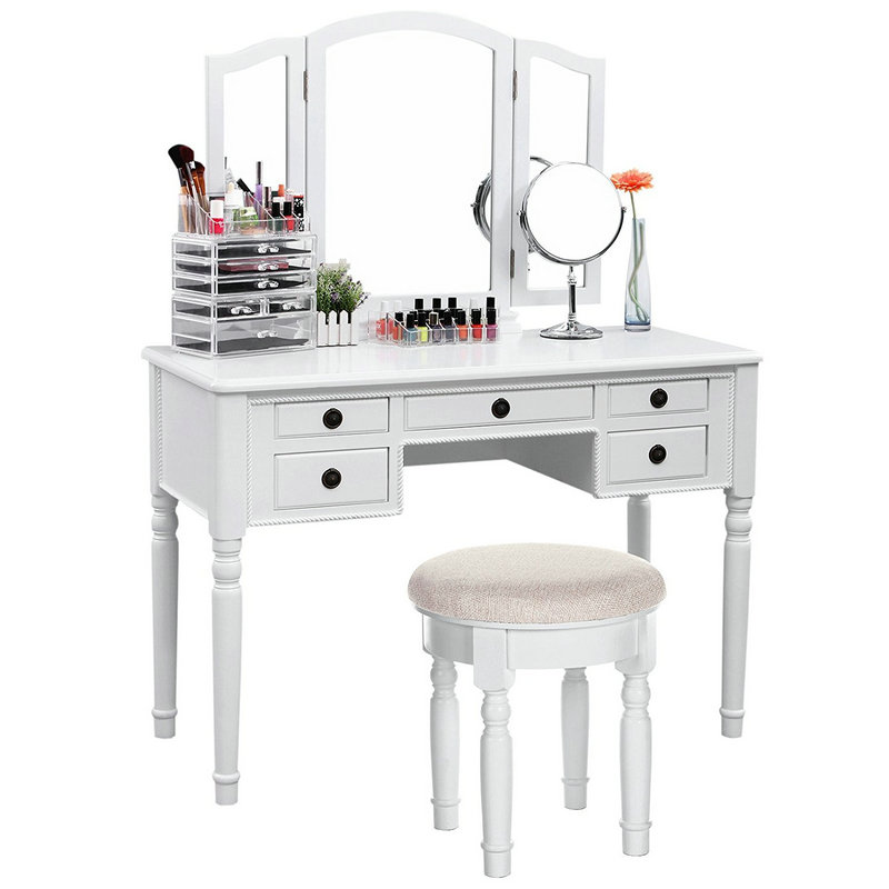 5 Drawers 3 Mirror Dressing Table
