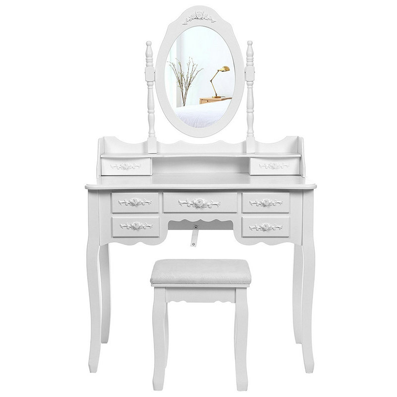 7 Drawers Static Mirror Dressing Table