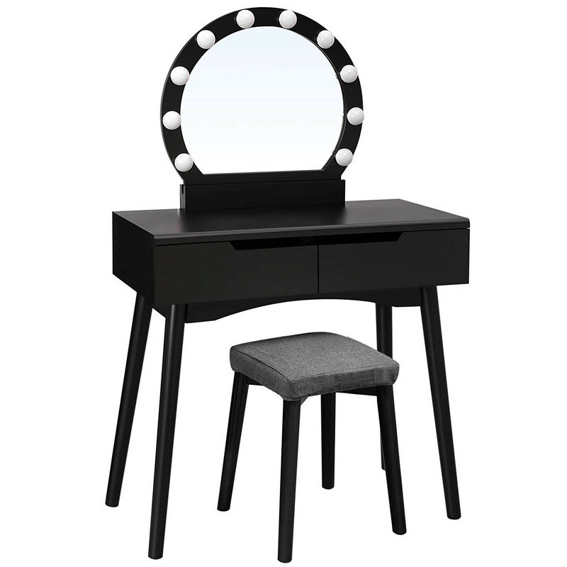 2 Drawers Mirror Lighted Dressing Table