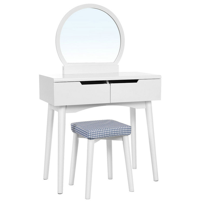 2 Drawers Round Mirror Dressing Table