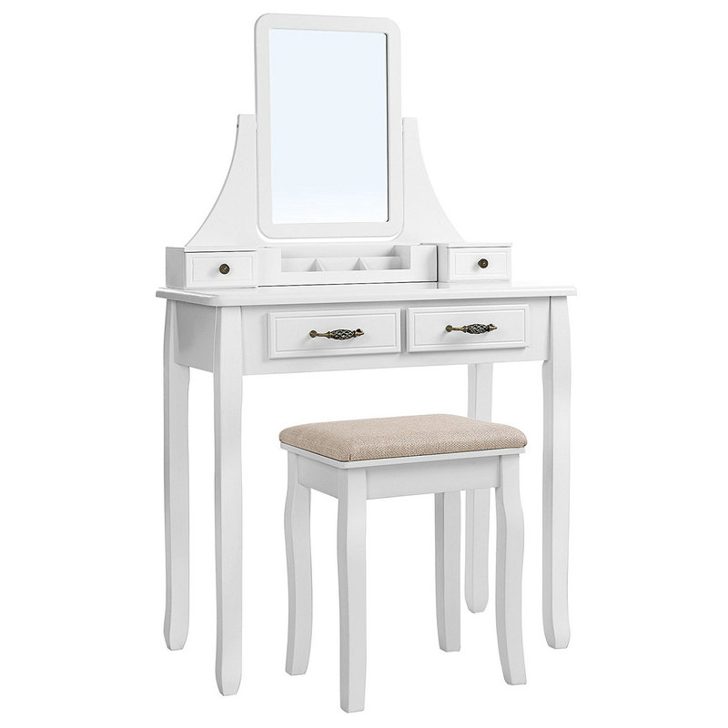 Bedroom White Dressing Table with Makeup Mirror