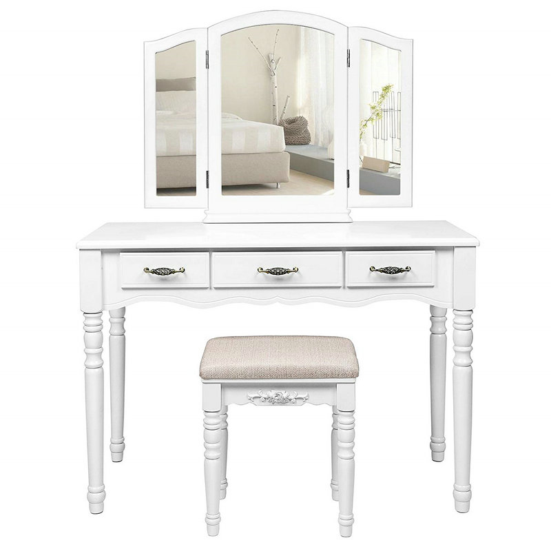 3 Drawers Tri-folding Mirror Dressing Table