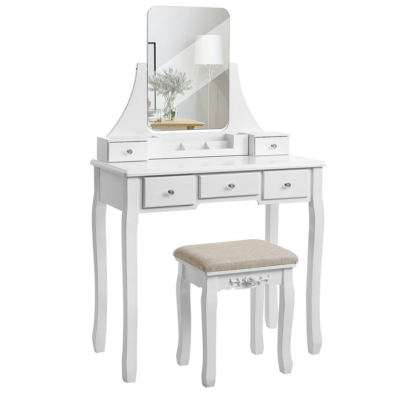 5 Drawers  Frameless Mirror Dressing Table