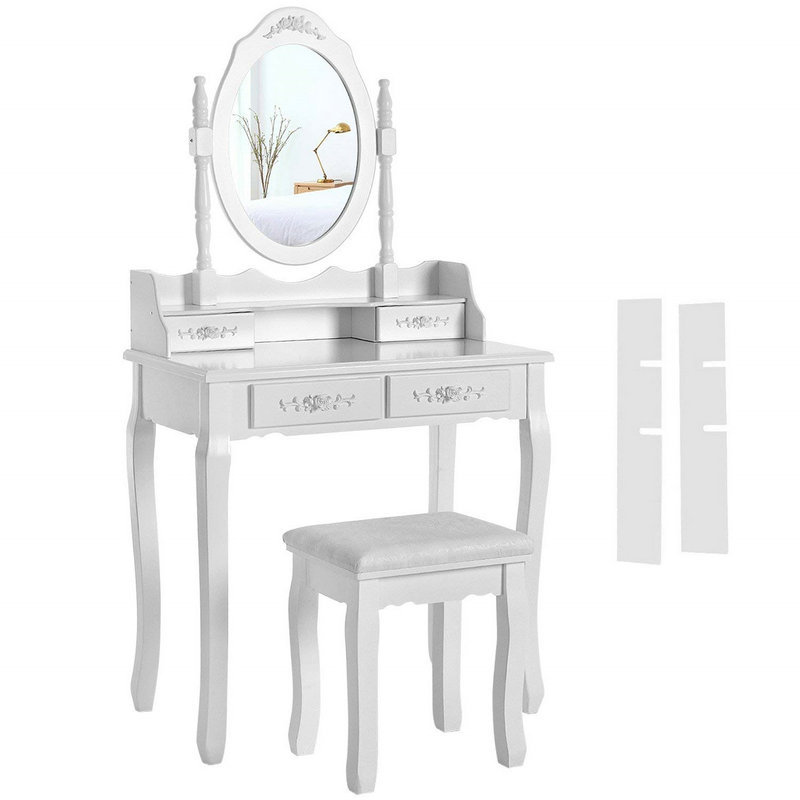 4 Drawers Mirror Dressing Table Set