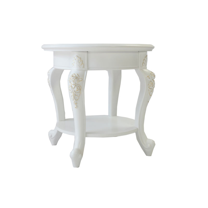 Miniature White Carved Round End Table